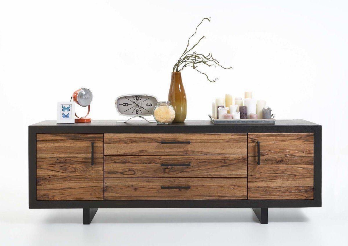 Kasper-Wohndesign Sideboard Massivholz 3 Schubladen und 2 Türen »GONA«