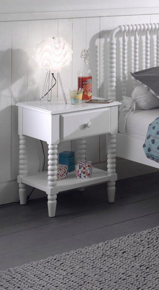 Vipack Nachttisch »Alana«, Massivholz mit MDF-Oberfläche | Schlafzimmer > Nachttische | Weiß | Vipack