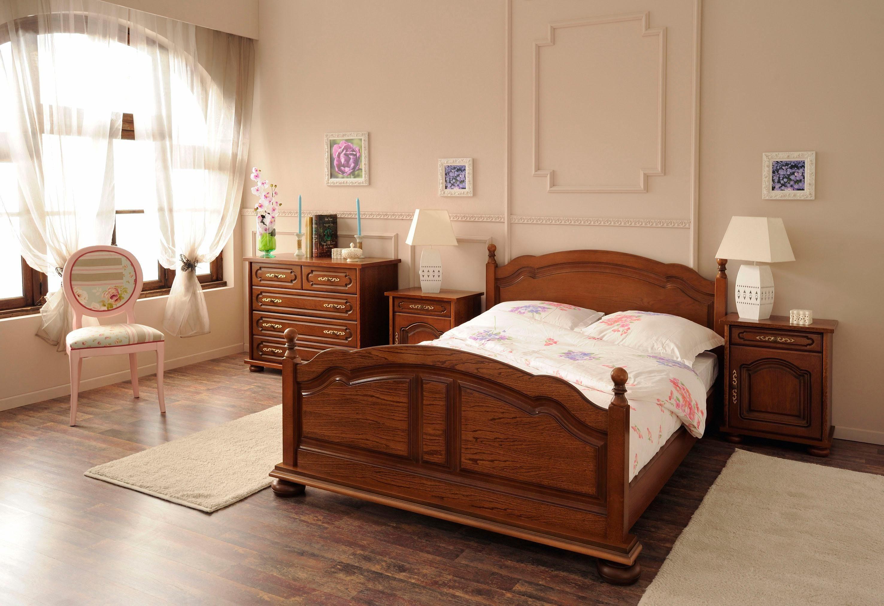 Premium by Home affaire Bett »Berry« hochwertig verarbeitet mit Echtholzfurnier, Eiche Antikoptik