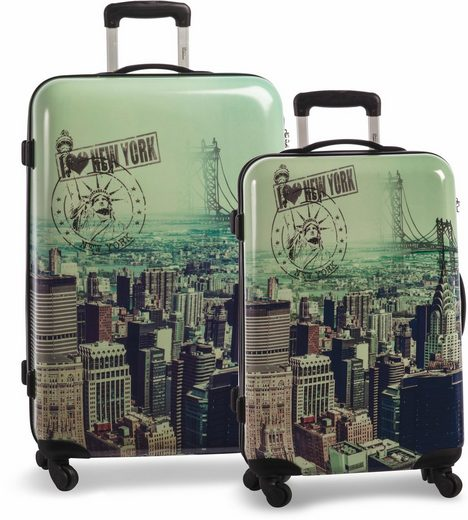 fabrizio® Trolleyset »Big Apple«, 4 Rollen, (Set, 2 tlg)