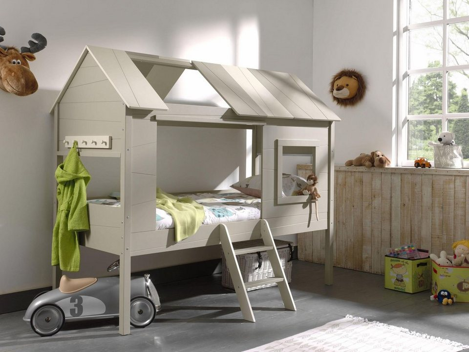vipack halbhohes bett charlotte in baumhaus optik mit garderobenleiste mdf online kaufen otto. Black Bedroom Furniture Sets. Home Design Ideas