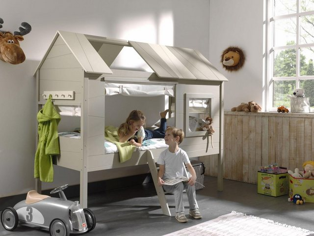 Vipack Halbhohes Bett Charlotte in Baumhaus-Optik mit Garderobenleiste MDF grau | 05420070228503