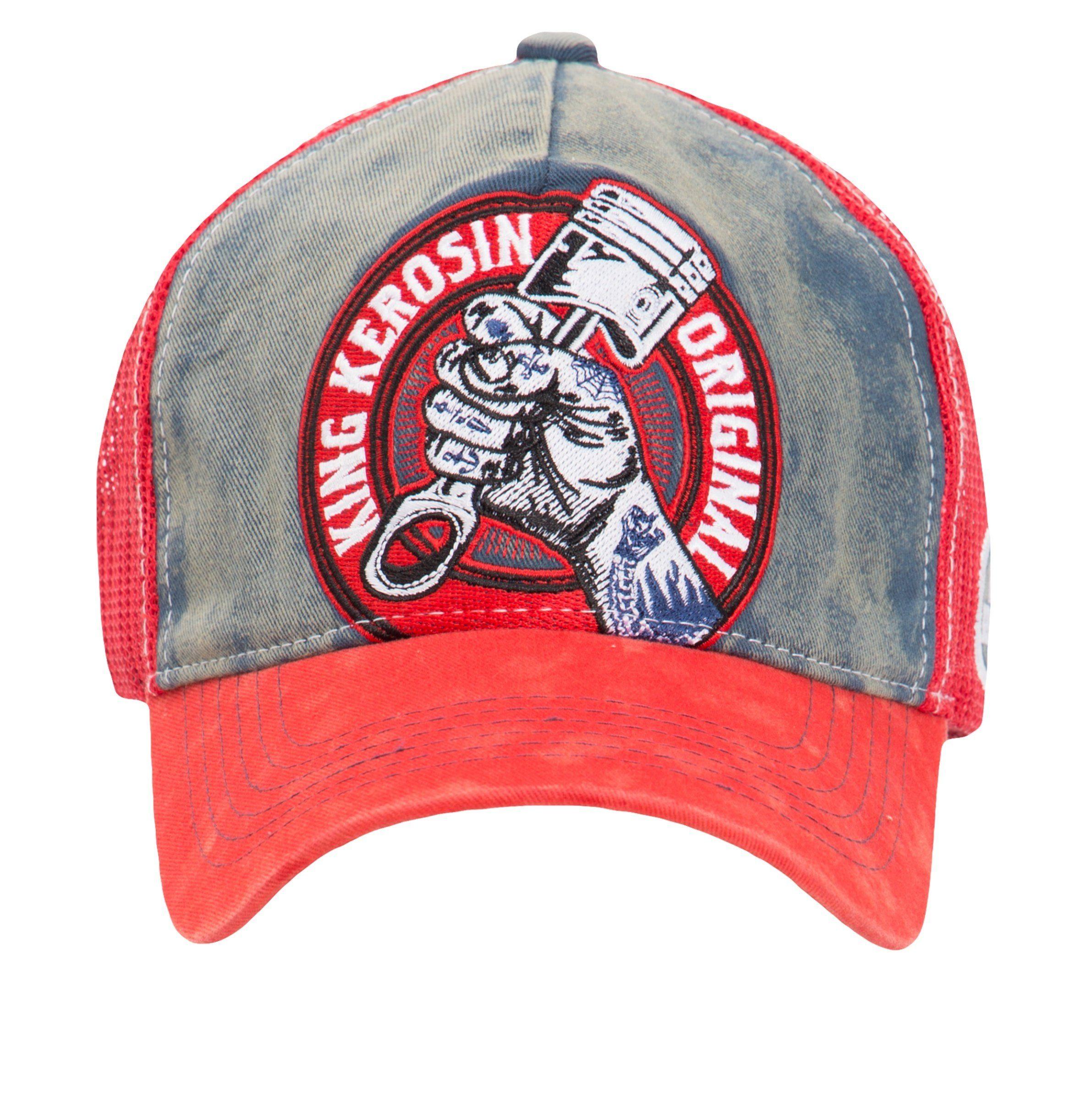 KingKerosin Trucker Cap »True Roots« mit Denim Einsatz im Used Look
