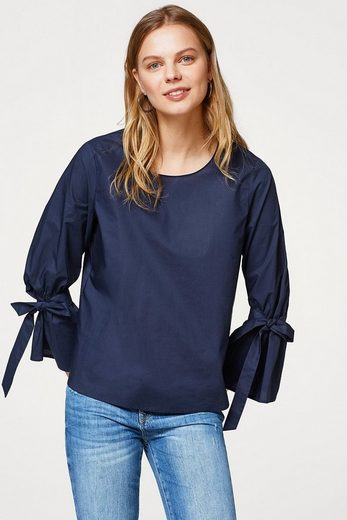 ESPRIT Popeline-Bluse mit Schleifen-Ärmeln