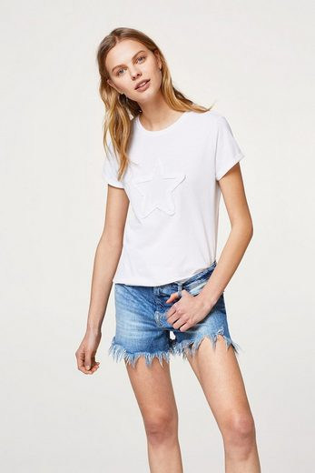 EDC BY ESPRIT Softes T-Shirt mit Stern-Applikation