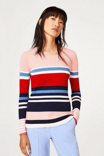 ESPRIT Leichter Baumwoll-Pullover mit Rippstruktur