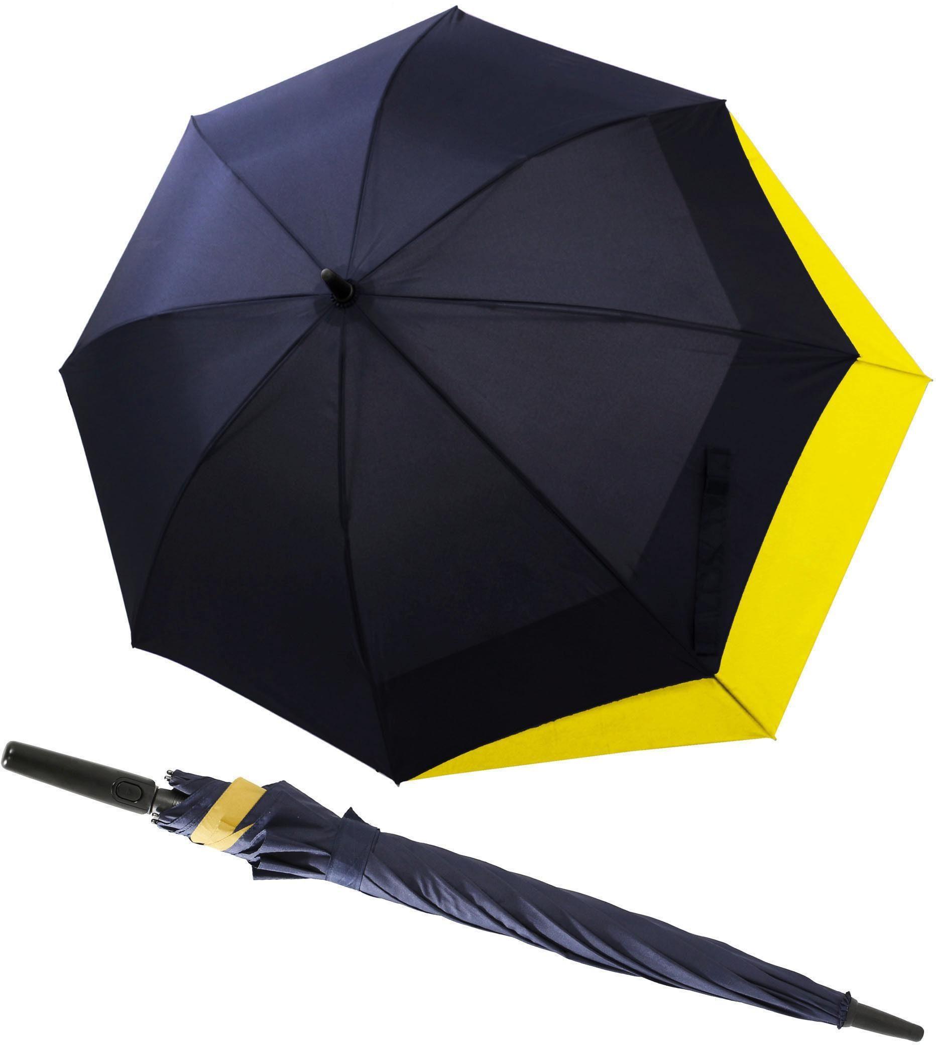 doppler® Regenschirm - Langschirm, »Fiber Long AC Move navy/gelb«