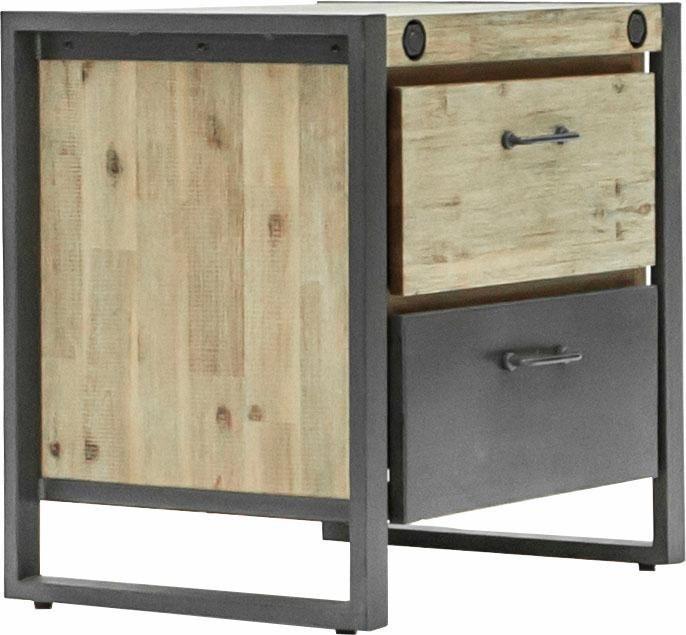 Quadrato Nachttisch »Mirage« mit Metallschrauben als Dekoelement und zwei Schubladen, Breite 60 cm | Schlafzimmer > Nachttische | Akazienholz | Quadrato
