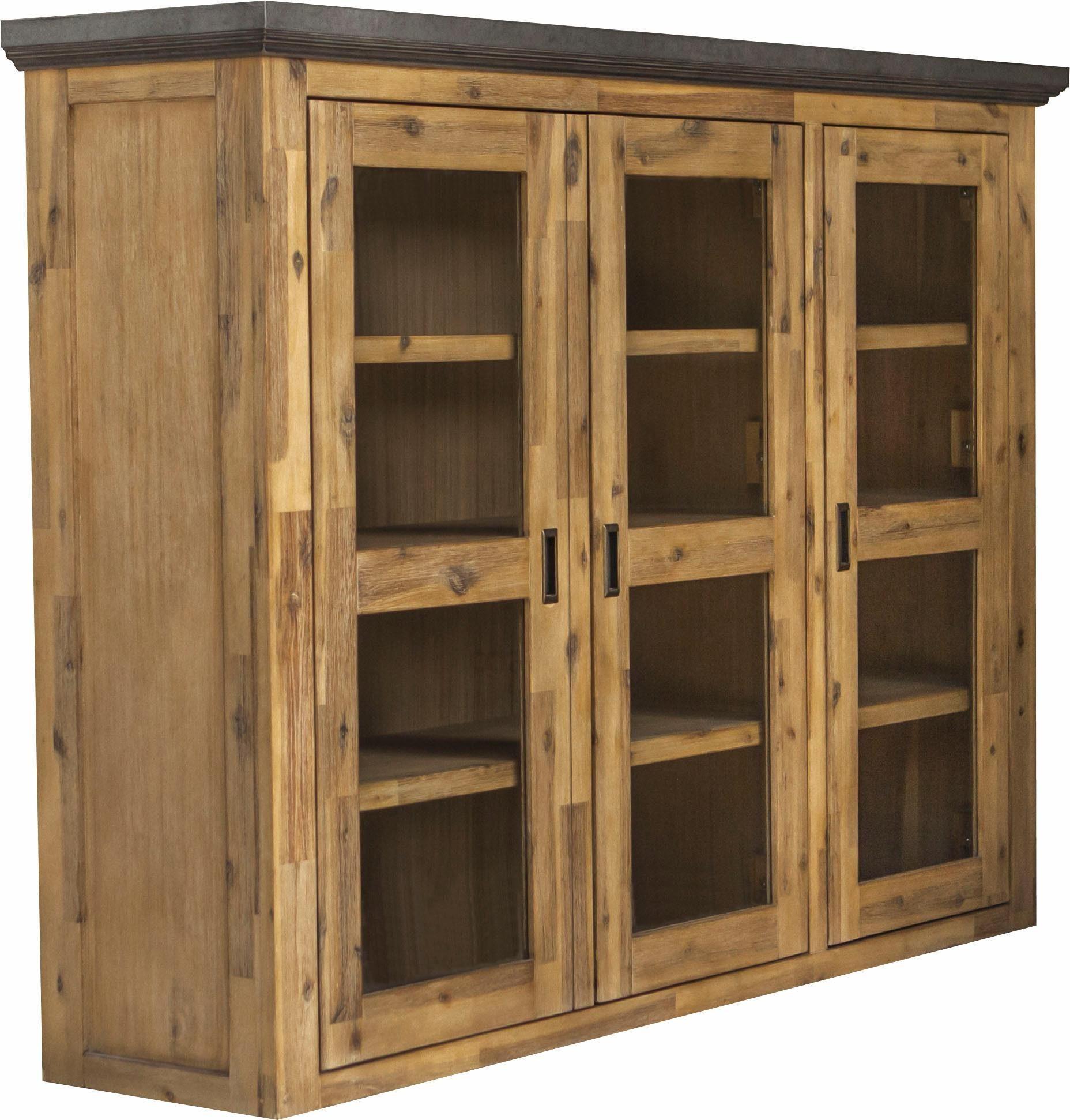 Quadrato Vitrinenaufsatz »Panama« aus gebürsteten Akazienholz, Türen, Top-/Fußleiste in Betonoptik