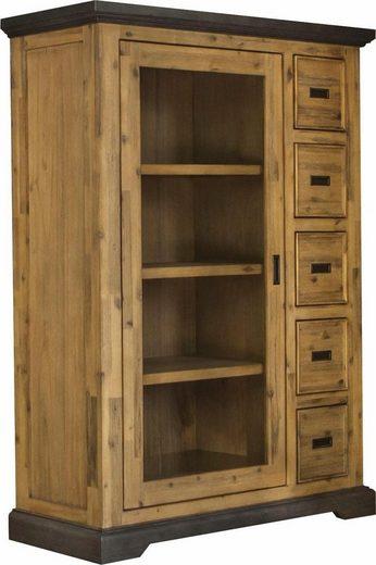 Quadrato Vitrine »Panama«, aus Akazienholz in Betonoptik und viel Stauraum, Höhe 150 cm