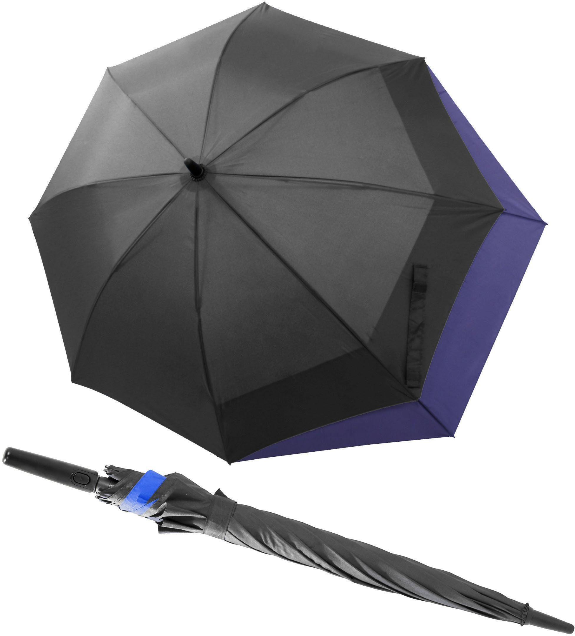 doppler® Regenschirm - Langschirm, »Fiber Long AC Move grau/royalblau«