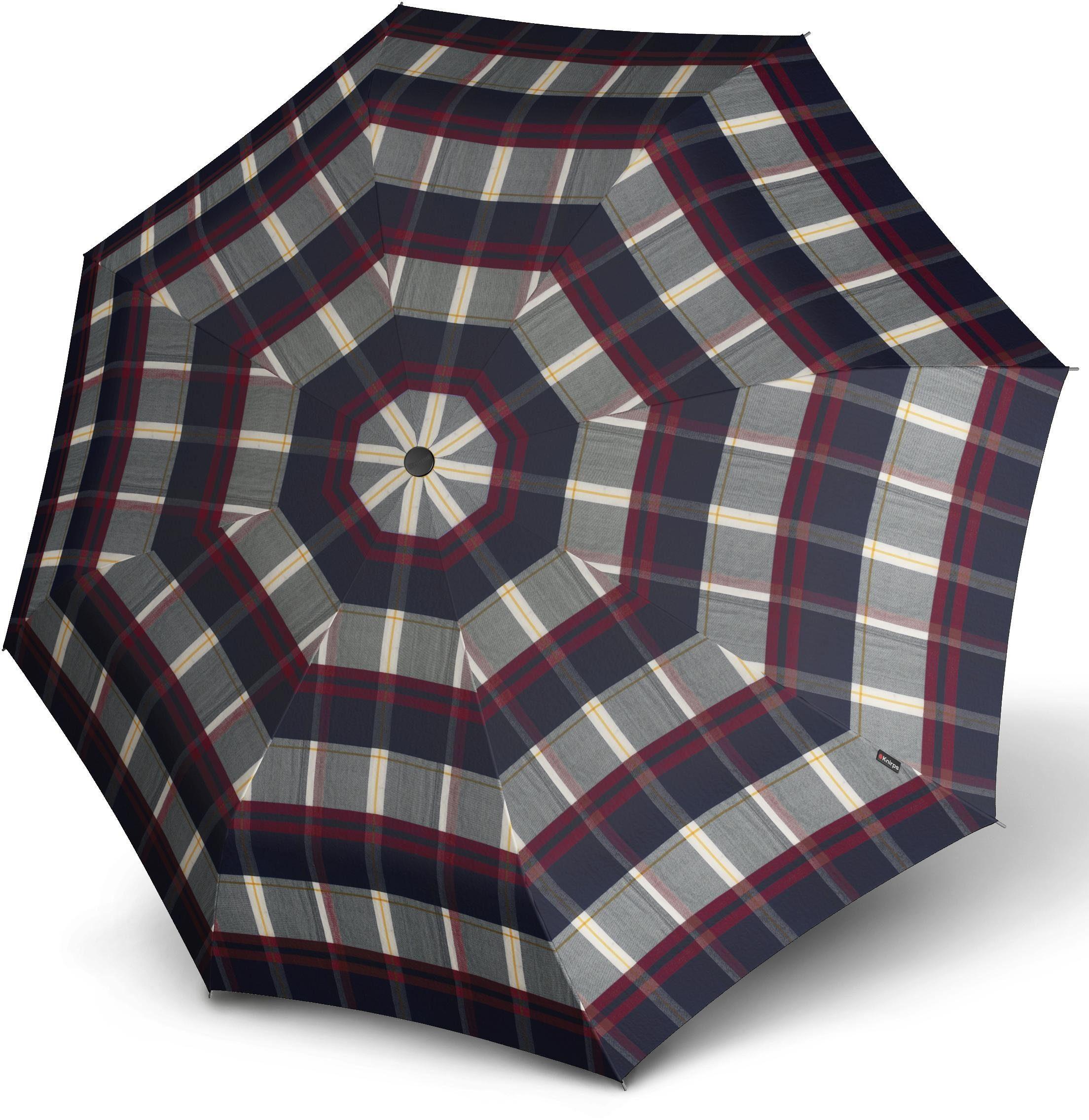 Knirps® Regenschirm - Taschenschirm, »T.200 Medium Duomatic check navy & bordeaux«