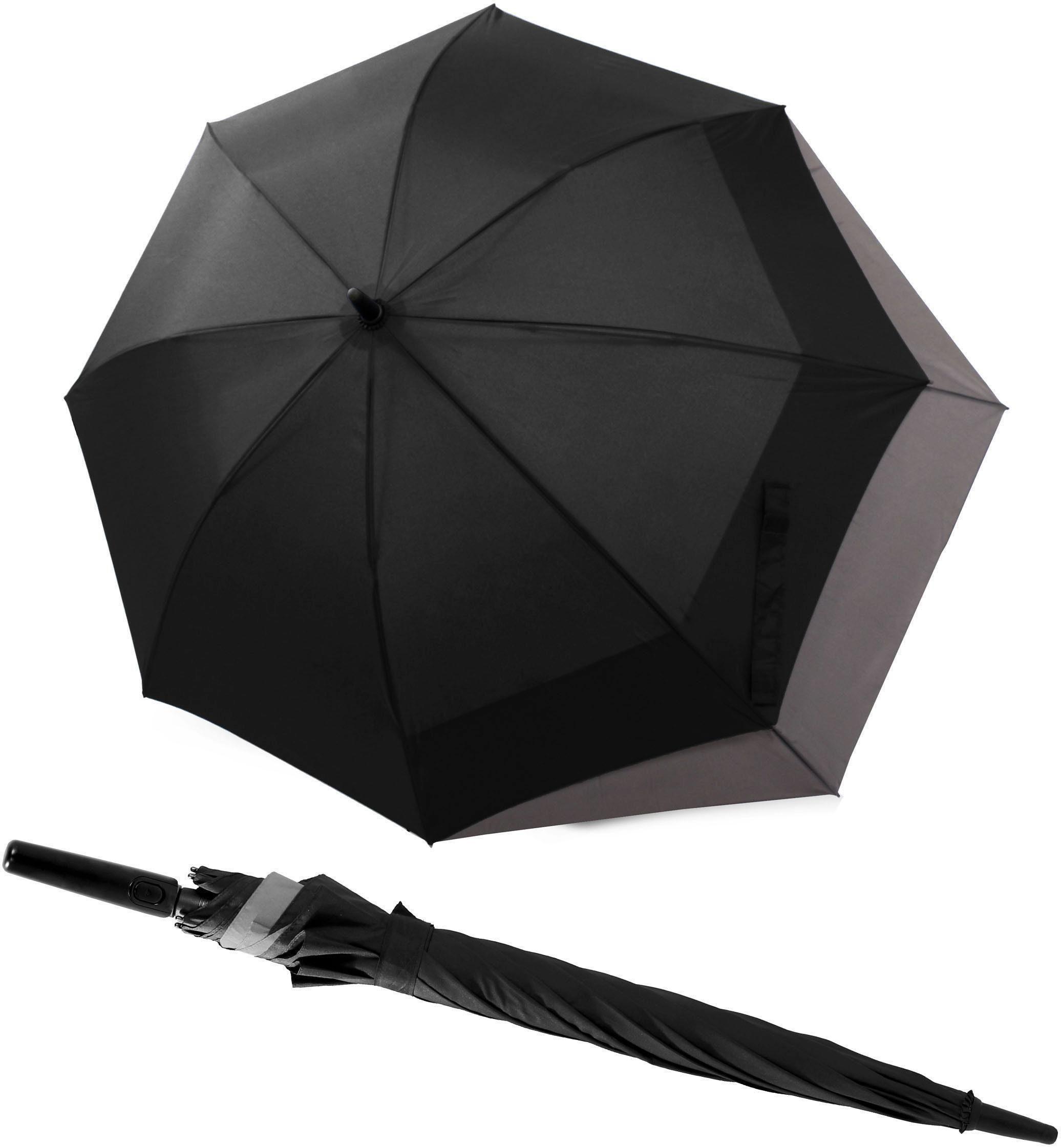 doppler® Regenschirm - Langschirm, »Fiber Long AC Move schwarz/grau«