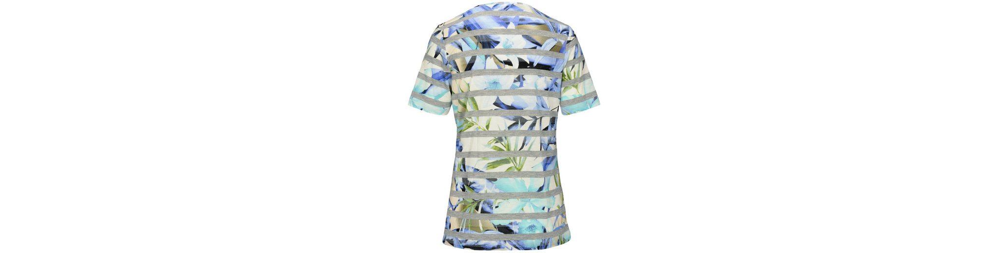 Clarina Rundhalsshirt, mit Print-Mix aus Streifen und Blüten