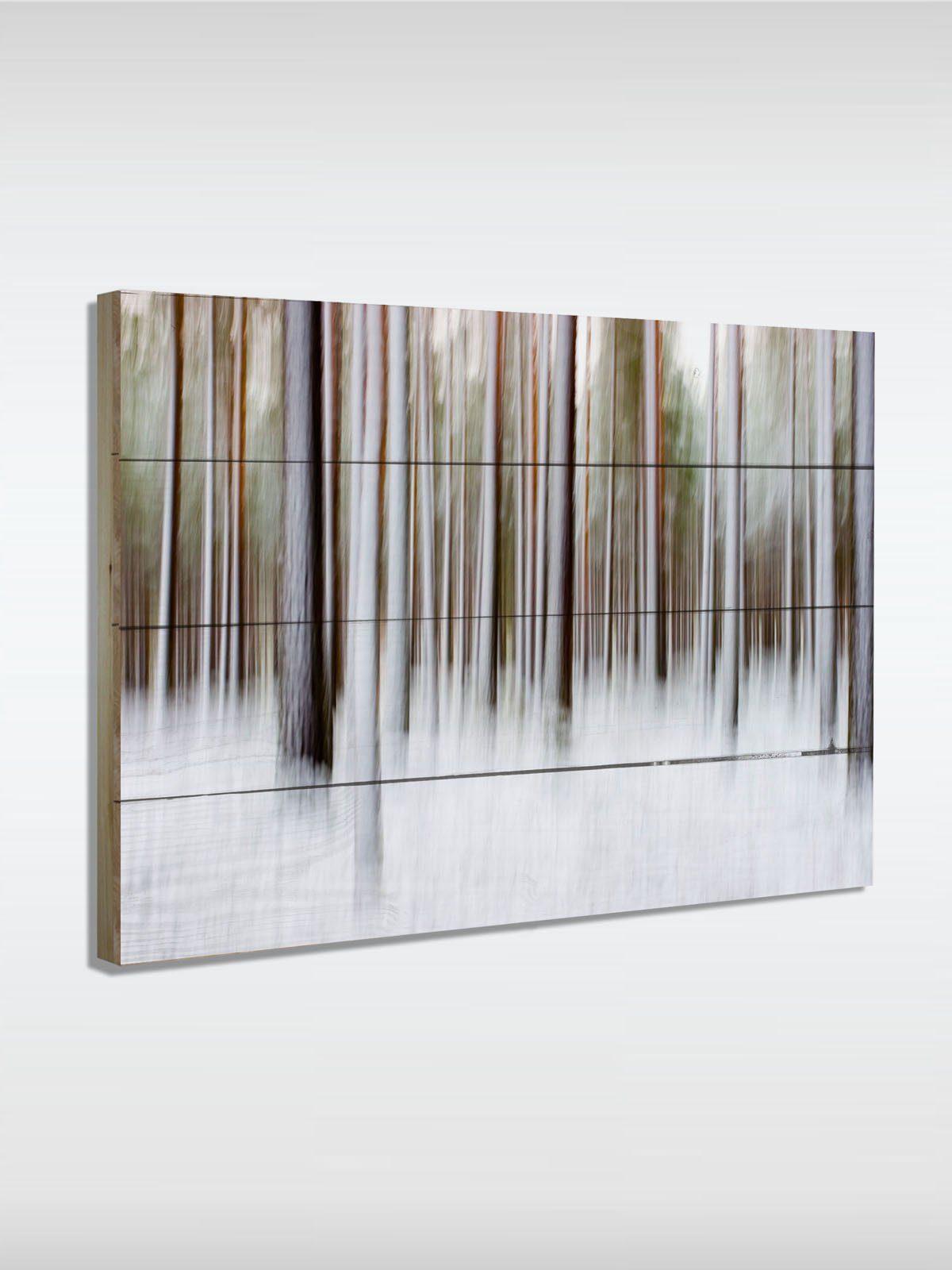 roombird Massiv-Holz Bild mit Druck in den Maßen 50 x 70 cm. »Holzbild Snow Trees 50 x 70 cm«