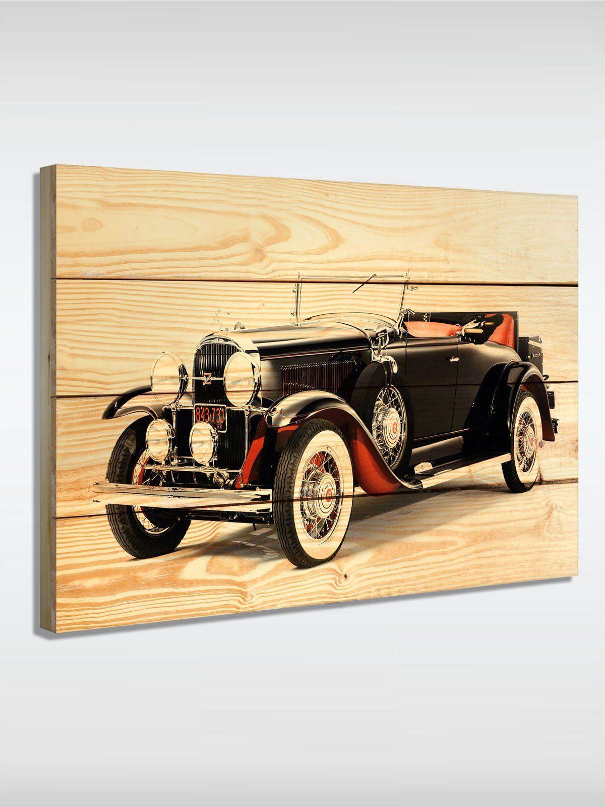 roombird Massiv-Holz Bild mit Druck in den Maßen 50 x 70 cm. »Holzbild Oldtimer II 50 x 70 cm«