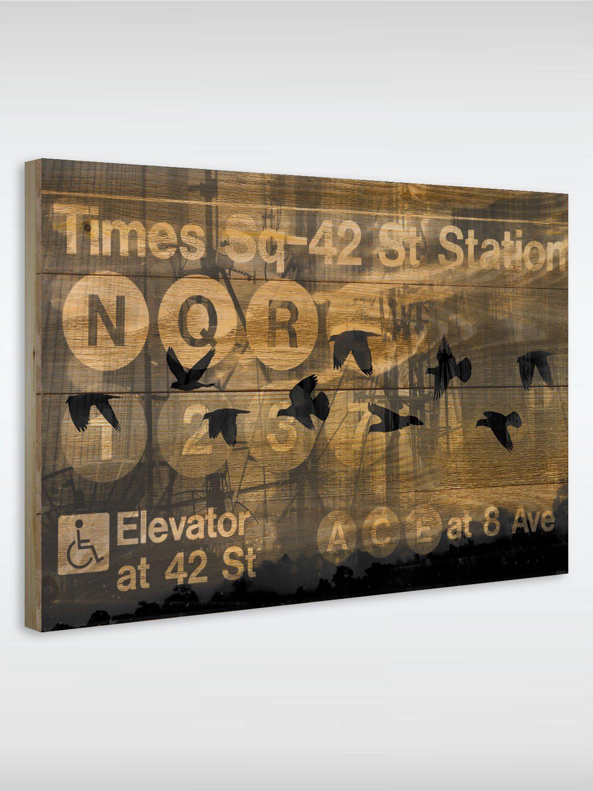 roombird Massiv-Holz Bild mit Druck in den Maßen 50 x 70 cm. »Holzbild NYC Subway 50 x 70 cm«