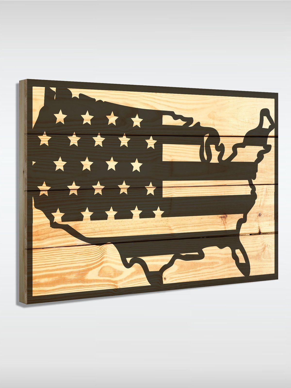 roombird Massiv-Holz Bild mit Druck in den Maßen 50 x 70 cm. »Holzbild United States 50 x 70 cm«