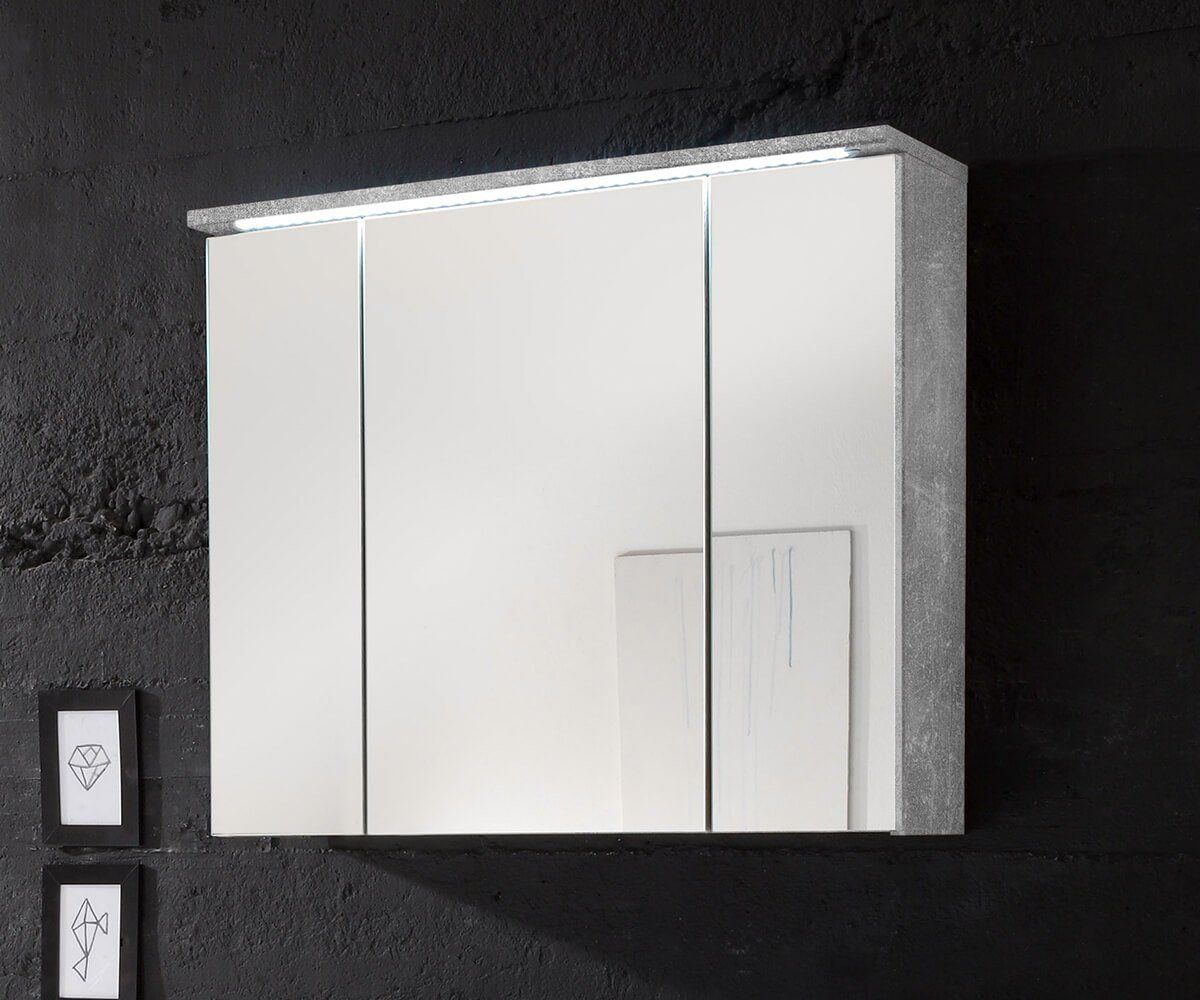 DELIFE Badspiegel Sibyl Grau Beton Optik 80 cm LED