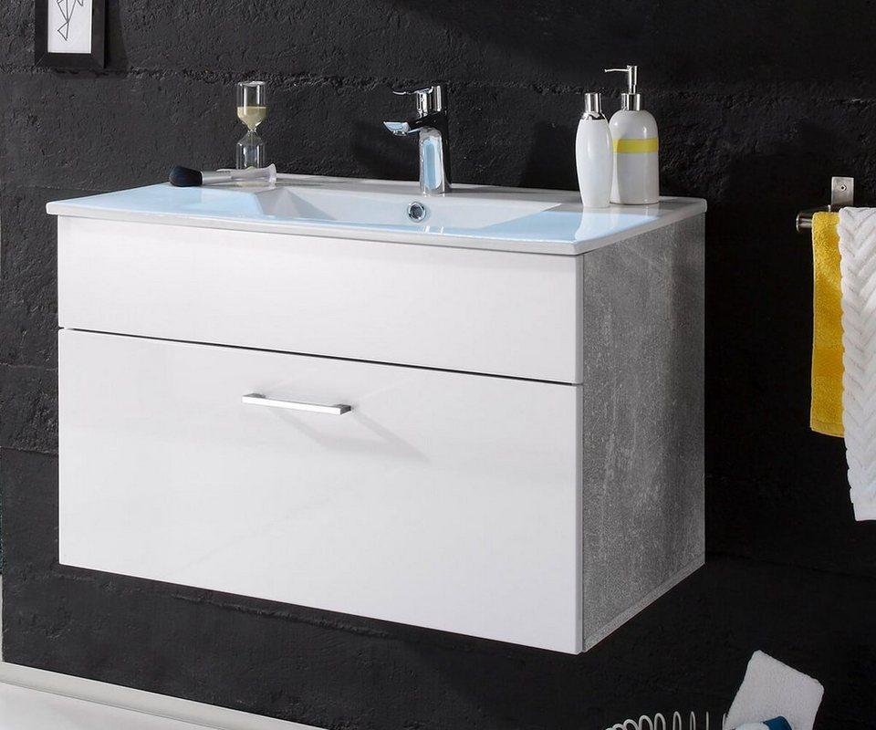 delife badschrank sibyl weiss hochglanz 80 cm mit becken. Black Bedroom Furniture Sets. Home Design Ideas