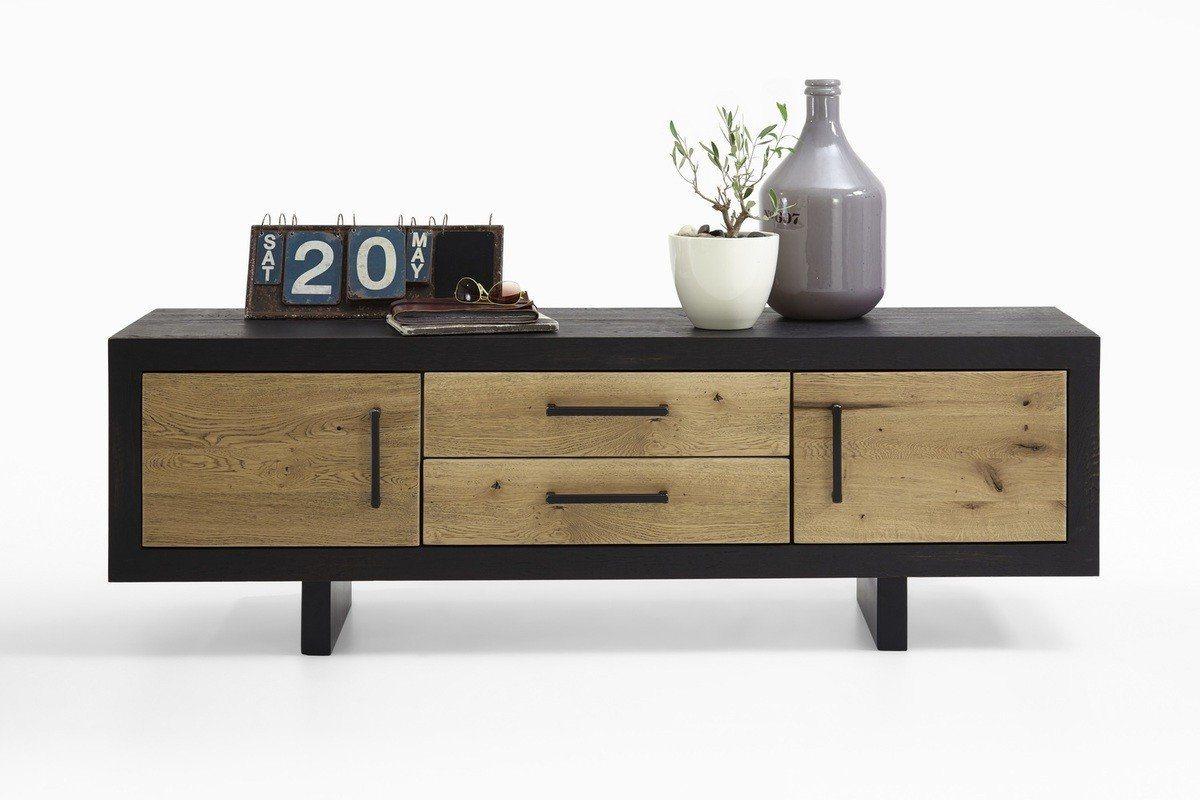 Kasper-Wohndesign  TV Board Massivholz mit 2 Schubladen und 2 Türen GONA braun | 04250385967849