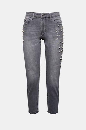 EDC BY ESPRIT Stetch-Jeans mit Perlen-Stickerei