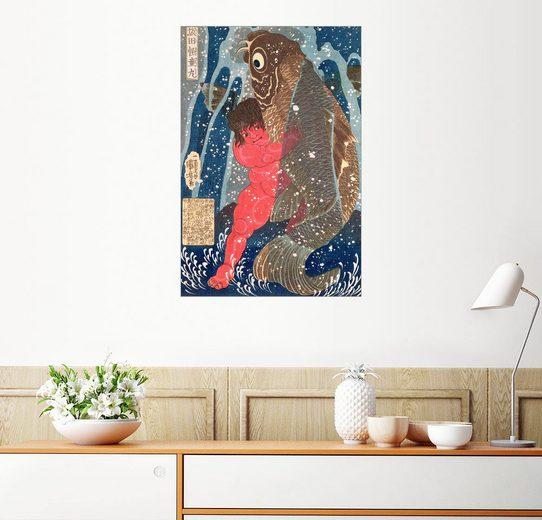 Posterlounge Wandbild - Utagawa Kuniyoshi »Kintoki Swims up the Waterfall«