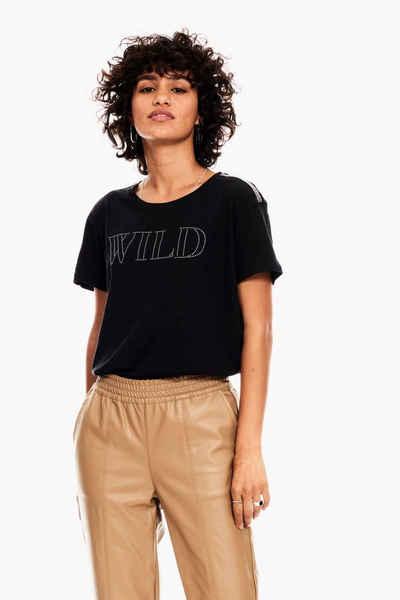 Garcia T-Shirt mit Strasssteinchen