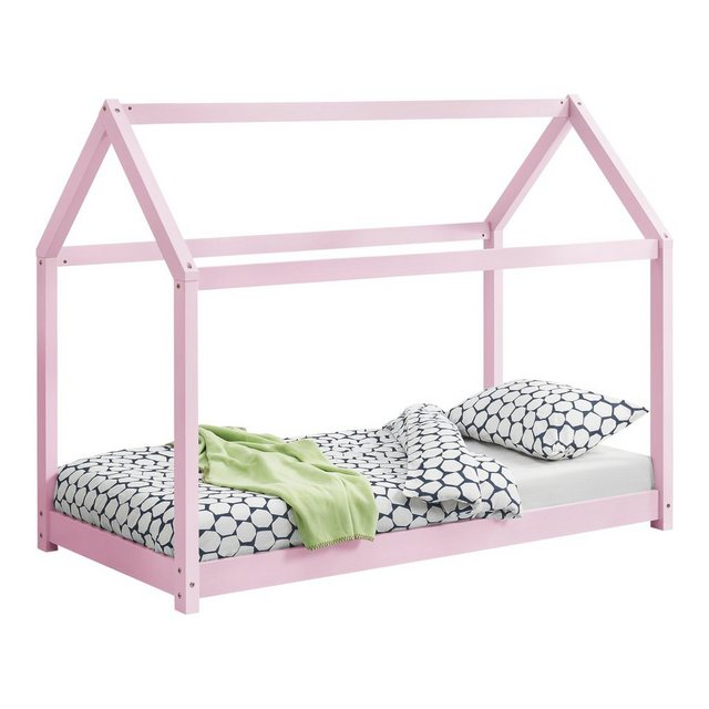 Kinderbetten - en.casa Kinderbett, Kinderbett 70x140cm Haus Kiefernholz Rosa Bettenhaus Hausbett Kinder Bett »  - Onlineshop OTTO