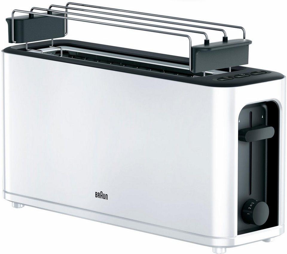 braun toaster ht 3110 wh 1 langer schlitz f r 2 scheiben. Black Bedroom Furniture Sets. Home Design Ideas