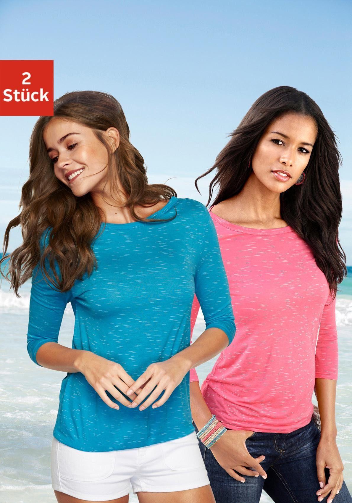 4 Kaufen Lascana 3 shirt2er Schulterraffung Online arm packMit c354jqSARL
