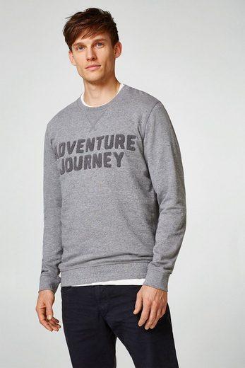 ESPRIT Meliertes Sweatshirt mit Frottier-Typo