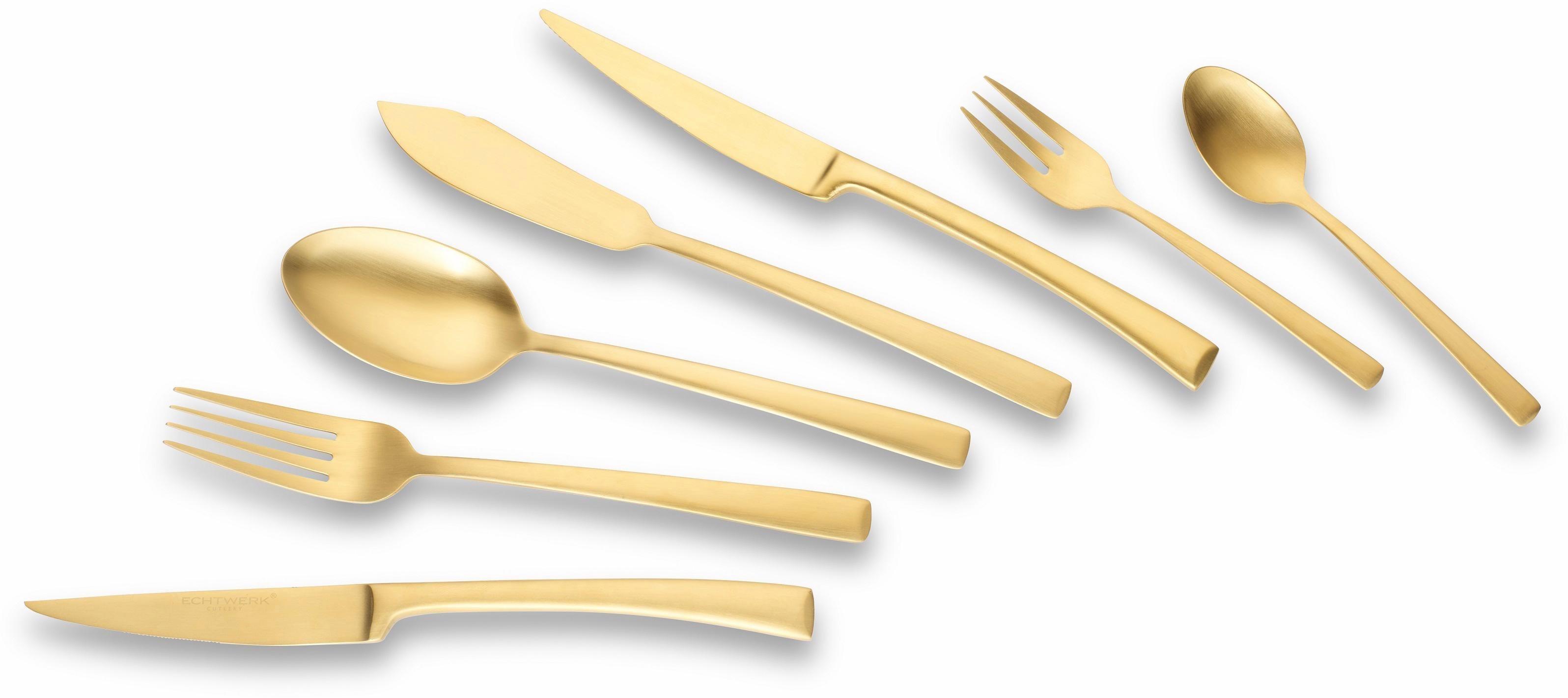 Echtwerk Besteck-Set, Edelstahl 18/10 goldfarben-mattiert, 42-teilig, »Avelino« | Küche und Esszimmer > Besteck und Geschirr > Besteck | ECHTWERK