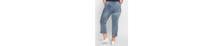sheego Denim Bootcut-Jeans, Fransen am Saum