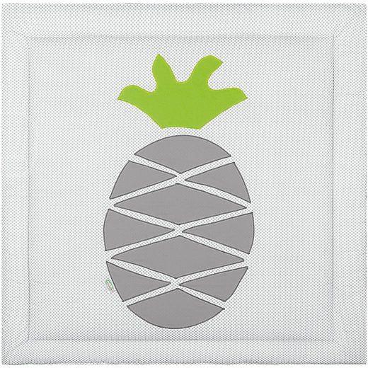 Odenwälder Krabbeldecke pineapple, dots light grey, 100 x 100 cm