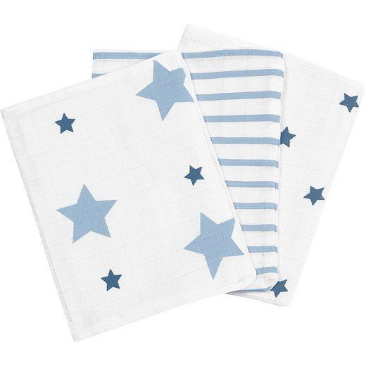 Odenwälder Waschlappen, Sterne und Streifen ice blue, 3er Pack