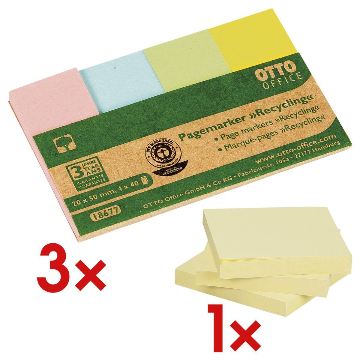 OTTOOFFICE NATURE 3x Pagemarker 20 x 50 mm inkl. 3er-Pack Haftnotizblock »Recycling« 1 Set