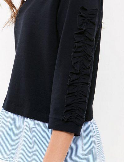 Taifun T-Shirt Langarm Rundhals Sweatshirt im Layer-Look