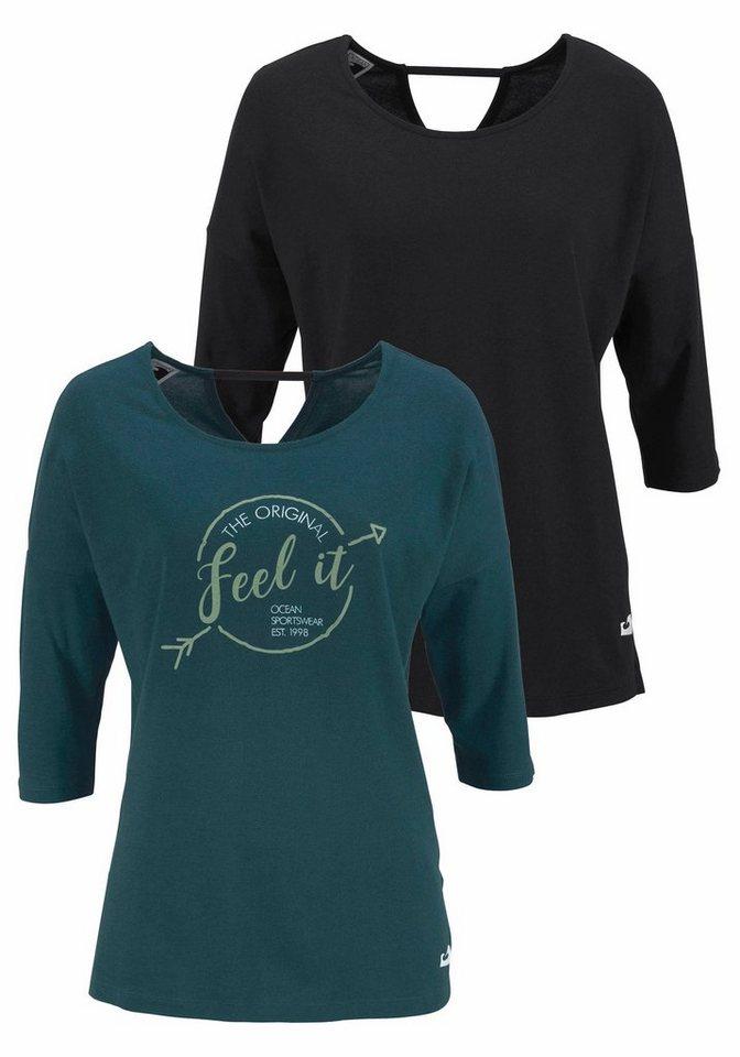 Ocean Sportswear T-Shirt (Packung, 2 tlg., 2er-Pack) Raffinierter Rückenausschnitt | Sportbekleidung > Sportshirts | Grün | Baumwolle | Ocean Sportswear