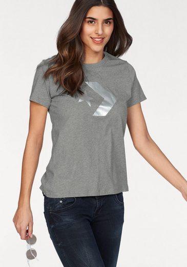 Converse T-Shirt »CONVERSE STAR CHEVRON METALLIC CREW TEE« Silbern glänzender Logogdruck