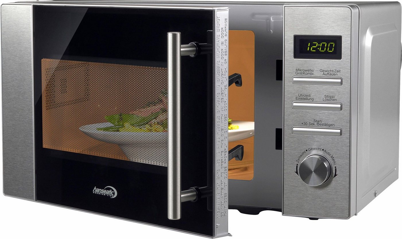 Hanseatic Mikrowelle mit Grill, 800 W, Grill
