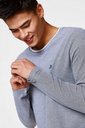Edc By Esprit Longsleeve From Piqué-fabric