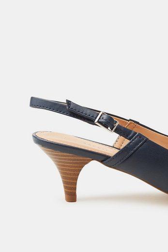 ESPRIT Slingback-Pumps in glatter Leder-Optik