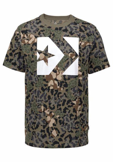 Herren Converse T-Shirt CONVERSE STAR CHEVRON BOX CAMO TEE grün | 00888755712924