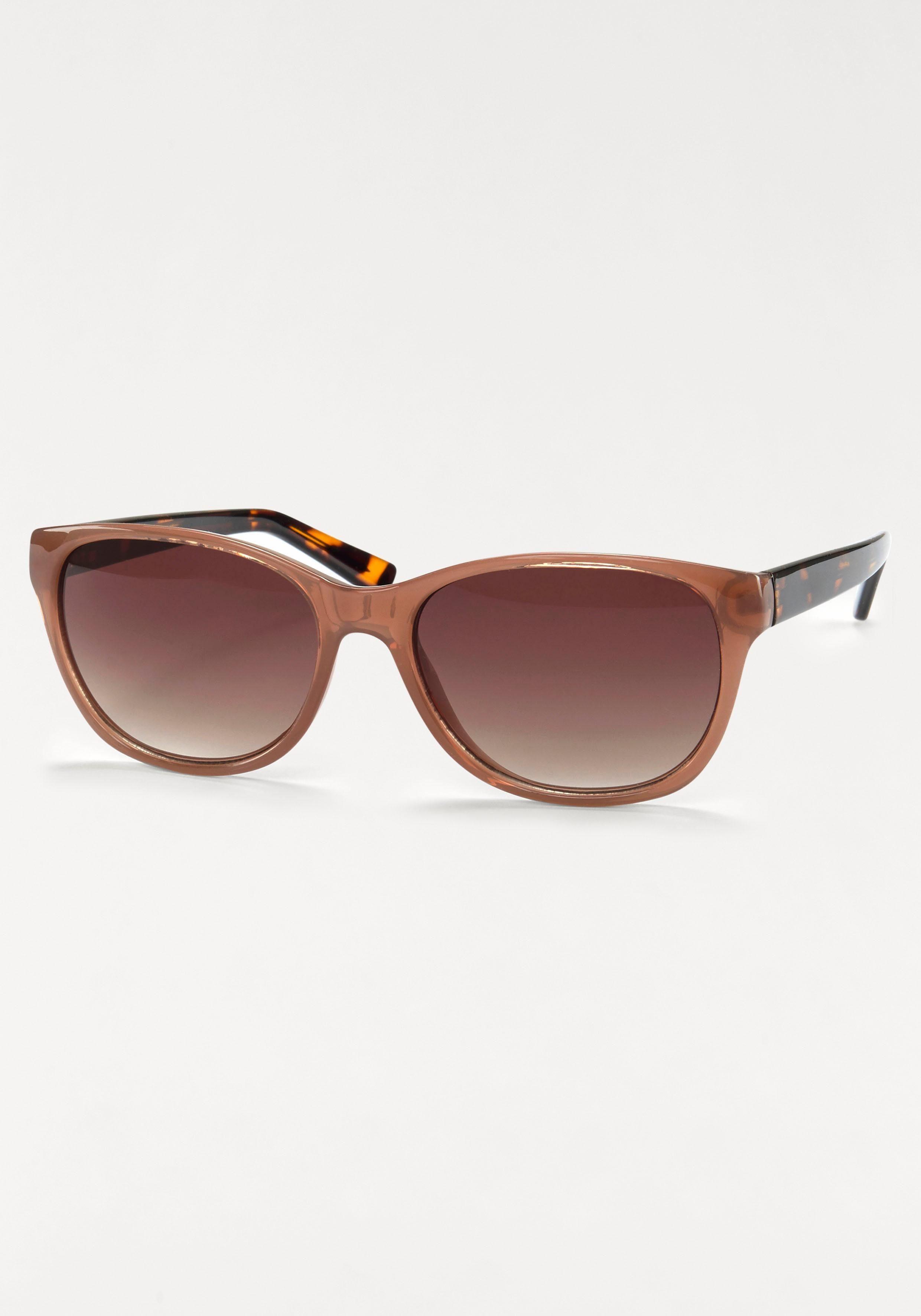 Sonnenbrille Bügel mit Leo Print, leichte Butterflyform