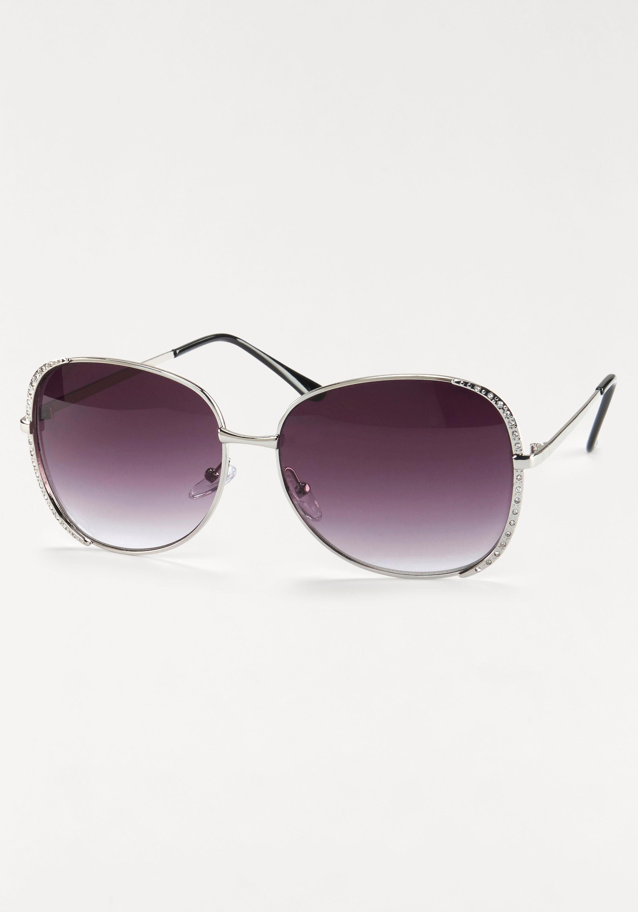 Sonnenbrille mit Glitzersteinen, Oversize Look, Metallgestell