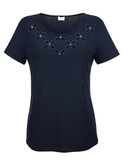 Alba Moda Shirt mit floralen Cut-Outs am Ausschnitt