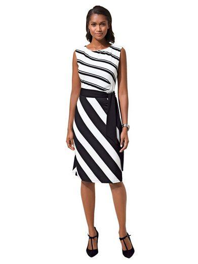 Alba Moda Kleid in strahlenförmigem Streifendessin