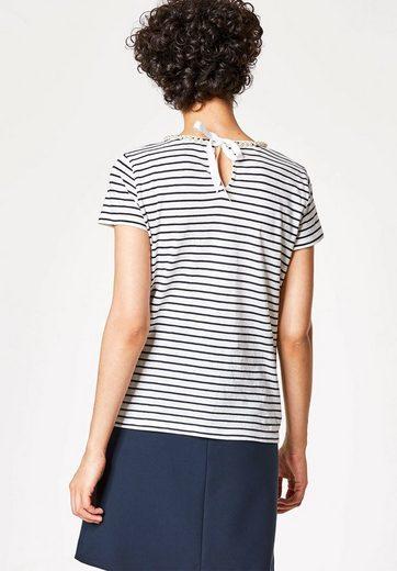 HALLHUBER T-Shirt mit Perlenausschnitt und Rips-Schleife