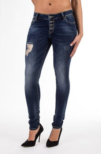 Blue Monkey Skinny-fit-Jeans Sandy 8015, mit Knopfverschluss und Pailletten Patch, Used Look